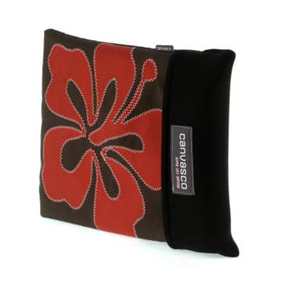 "Laptoptasche CANVASCO ""MacBook"" 17 Zoll / Tasche schoko / Motiv Hibiskus rot"