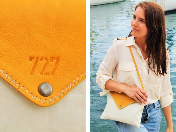 "Handtasche ""Lys"" by 727 Sailbags / Segel / Leder gelb"