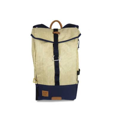"Rucksack ""Dinghy"" by 727 Sailbags / Segel gestreift / Boden blau"